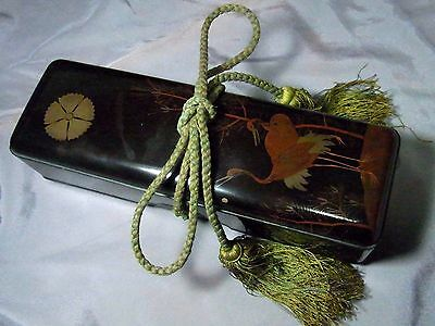Japanese Old Lacquerware Fubako Letter Box w Strap Crane,Tree & Crest Model