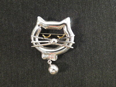 Cat Kitten Pin Brooch Sterling Silver Whiskers