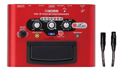 Boss VE-2 Vocal Harmonist w/RMC-B15 Black Series 15ft Mic/XLR Cable New