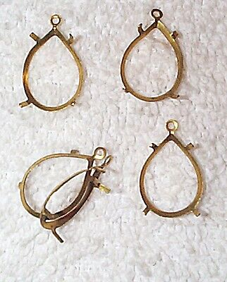 Vintage 13Mm By18Mm Pear Open Back W/ring Long Prong Brass Settings 14  Pcs