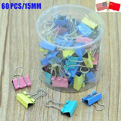 60 PCS Color Metal Paper File Ticket Binder Clips 15mm Office School Supply Clip