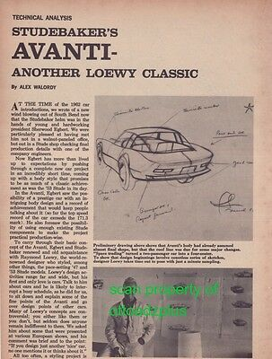 1963 Studebaker Avanti - technical analysis article!  Super RARE! 4+ pages