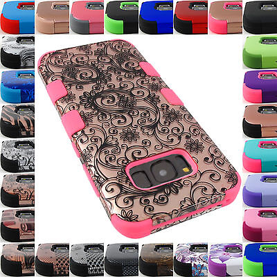 For Samsung Galaxy S6 S7 S8/S8+ Tuff Case Hybrid Impact Rugged Rubber Cover+Film