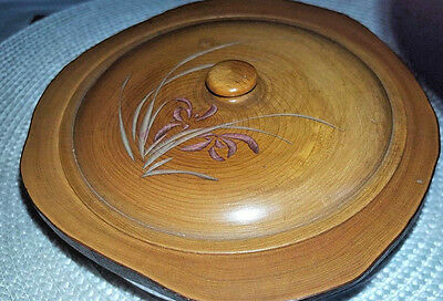 Vintage Hawaiian Wood Hand Carved Round Wood Bowl With Lid Art