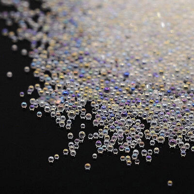 0.6mm Tiny AB Crystal Glass Caviar Beads 3D Micro Pixie Mermaid Nails Manicure