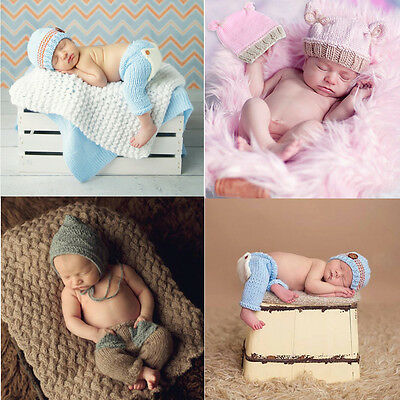 Baby Newborn Boy Girl Blue Knitted Costume Elf Hat Pants Photography Props Caps
