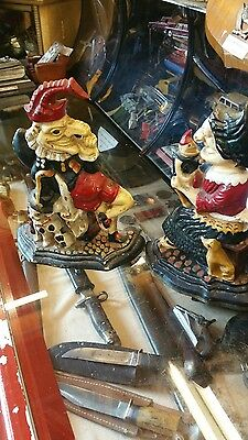 Punch and Judy Cast Iron Door Stops Hand Painted Vintage Dog Cat and Baby