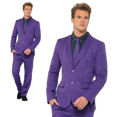 Mens Purple Stand Out Suit Adult Fancy Dress Summer Festival Costume New