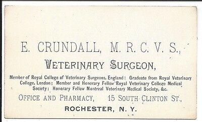c1890 Business Card of Rochester, NY Veterinary Surgeon, E. Crundall