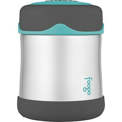 Thermos Foogo 290 ml Stainless-Steel Food Jar - Charcoal with Teal Accents