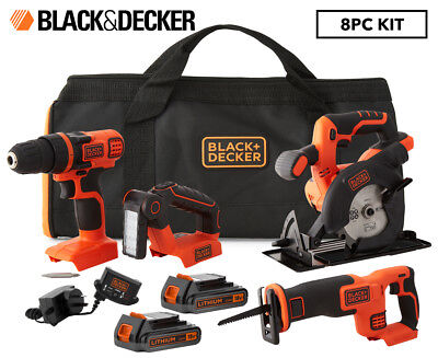 Black & Decker 18V Drilldriver, Circular Saw, Recip Saw & Flashlight 4-Piece Kit