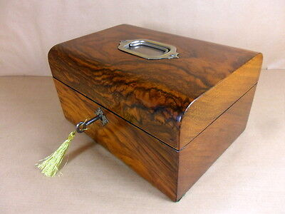 ANTIQUE VICTORIAN WALNUT JEWELLERY/SEWING BOX WITH HANDLE C1850-1860 (Code 413)