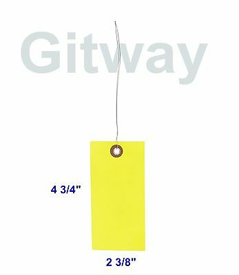 """Yellow 100 Pack 4 3/4"""" x 2 3/8"""" Size 5 Tyvek Inventory Olefin Tag Tags with Wire"""