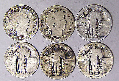 6 Quarters: 1906 1912 1926 + 3 Dateless Standing Liberty w/ Mint Marks (1-617)