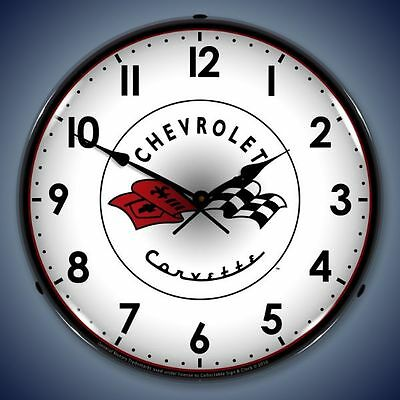 """C1 Corvette Flags Lighted 14"""" Wall Clock NEW Free Shipping"""