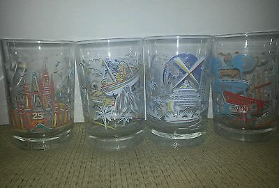 COMPLETE SET OF 4 McDONALD's Disney Commemorative 25th ANNIVERSARY Glasses Mugs