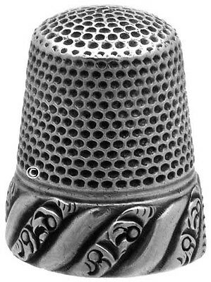 Antique Sterling Silver Thimble 'Raised Scrolls' *C.1880s