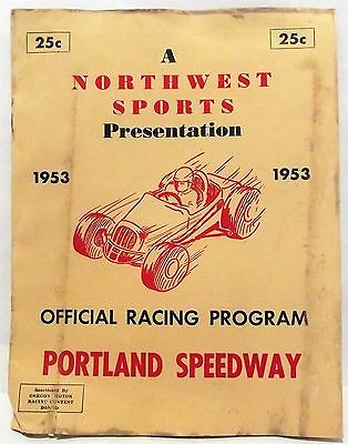 '1953 PORTLAND SPEEDWAY Oregon Auto Races Racing PROGRAM Herschel McGriff
