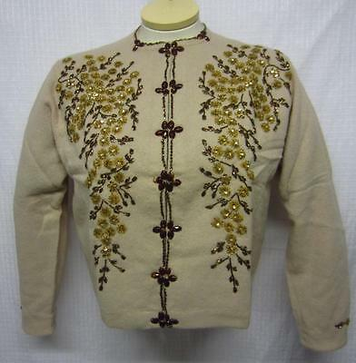 Vtg OK YUP Wool Blend Cardigan Beige Gold Sequins/Gold & Brown Beads Sz 8 NEW