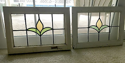 Pair of Antique English Stained Glass Windows