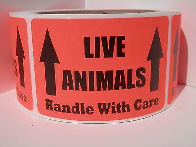 LIVE ANIMALS HANDLE WITH CARE 2x3 Sticker Label fluorescent red bkgd 250/rl