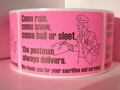 50 Thank You USPS Support Messages 2x3 stickers labels pink flourescent bkgd
