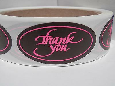 THANK YOU 1x2 oval  Stickers Labels pink fluorescent letters black bkgd 250/rl