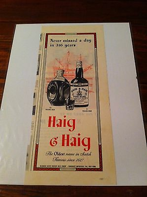 Vintage 1944 Haig & Haig Never Missed A Day In 316 Years Whiskey Print ad