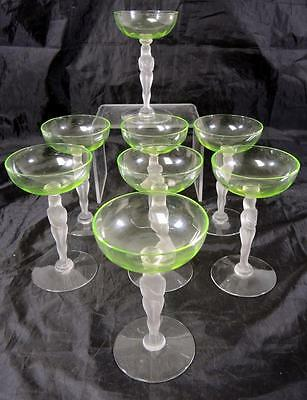 Rare 8 Art Deco Seneca Glass Champagne Coupes -- Shy Nude Pattern