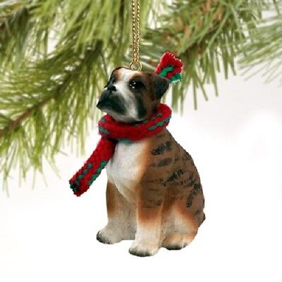 BOXER dog HAND PAINTED ORNAMENT Figurine NEW Brindle UNCROPPED puppy Christmas