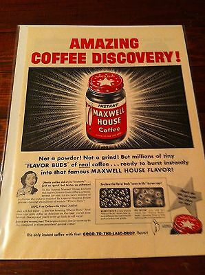 Vintage 1954 Maxwell House Coffee Amazing Discovery Print ad
