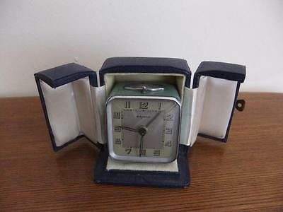 1930s Bayard Bijou Art Deco Travel Clock with Original Case