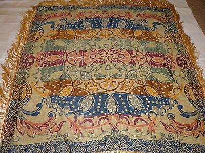 "Vintage Brocade Tapestry Piano Shawl With Gold Fringe - 32"" x 32"" - As Found"