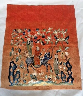 Striking Antique 19Th Century Chinese Silk Embroidery Figural Signed