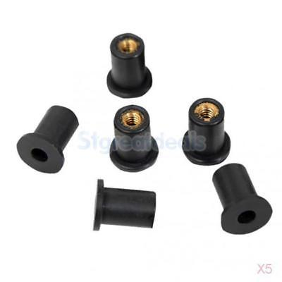 5x 6pcs Wellnuts Metric M5 Windscreen/Fairing Rubber Well Nuts for Motorcycles