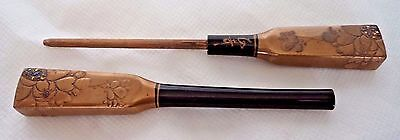 SUPERB JAPANESE MEIJI c1900 LACQUER HAIRPIN - SIGNED