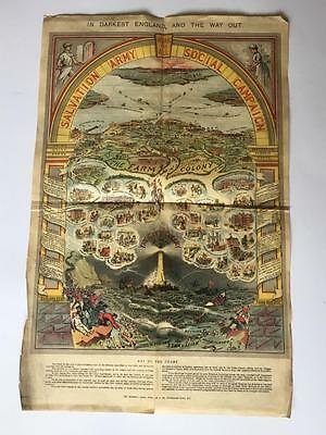 C 1910 Poster Chart Broadside Salvation Army Work For All Campaign Lithograph