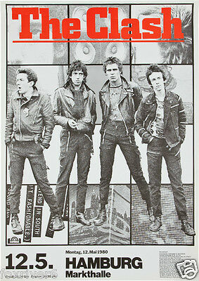 THE CLASH Concert Window Poster - Punk Rock Band HAMBURG Markthalle 1980 reprint