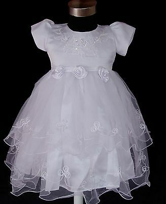 New Girls White Christening Party Flower Girls Dress 9-12 Months