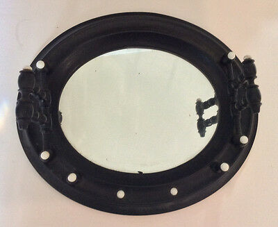 RARE OOAK Edwardian Ebony Mens Grooming Mirror With Porcelain Knobs