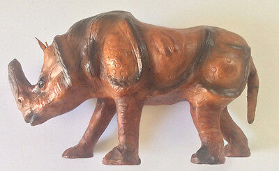 Vintage Leather Rhinoceros with Glass Eyes