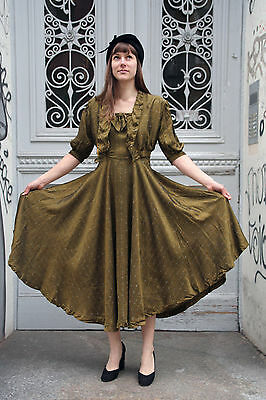 2Teiler Jacke Kleid Petticoat grün 50er True Vintage Rockabilly two piece dress