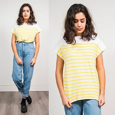 Womens Vintage 80's White Yellow Towelling Striped T-Shirt Top Summer 12 14