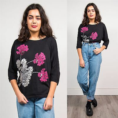 80's Vintage Womens Floral Pattern T-Shirt Top Pink & Silver Summer Casual 12