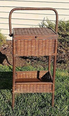"""Heywood Wakefield Antique Wicker Sewing Stand - Heywood Brothers - 35"""" Tall"""