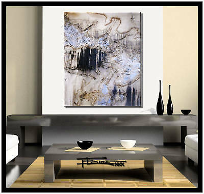 ABSTRACT CANVAS PAINTING BLACK and WHITE Listed by Artist Large US.ELOISExxx