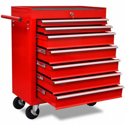 Red Workshop Tool Cabinet Cart Wheel Trolley Tools Tray 7 Drawers Lockable