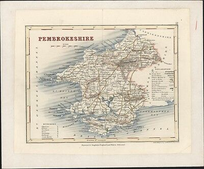 1846 Archer & Dugdales Antique Map of County of Pembrokeshire, Wales