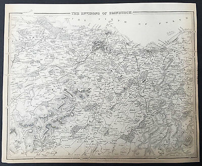 1838 SDUK Antique Map Plan of the City of Edinburgh & Environs