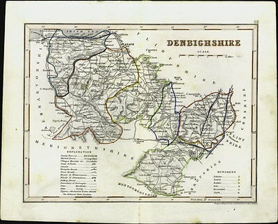1846 Archer & Dugdales Antique Map of County of Denbigh, Wales